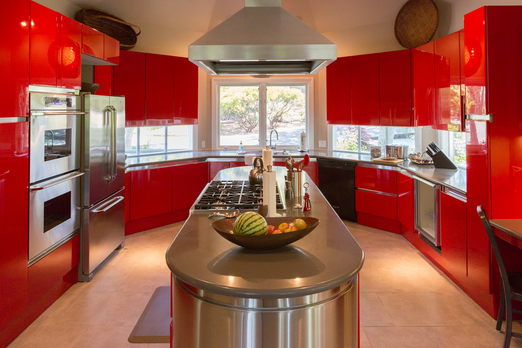 Red Lacquer Kitchen Cabinets Architectural Steve Ruddy Photography